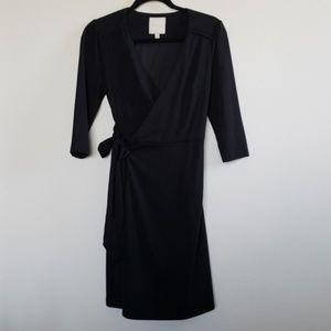LBD Modcloth Black Wrap Dress Size S